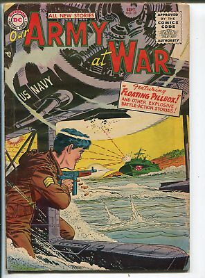 Our Army At War #38 1955-DC-Joe Kubert American Flag story-WWII cover-VG