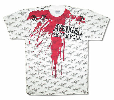 Avenged Sevenfold Blood Bats All Over Kids White T-Shirt Youth Large New
