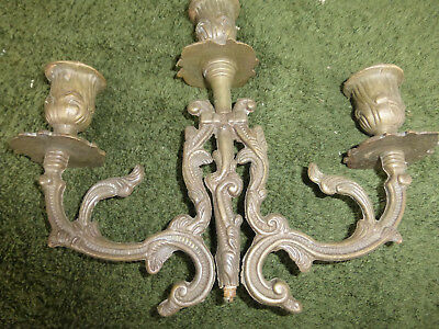 Vintage antique bronze brass 3 Cup candelabra part piece repurpose