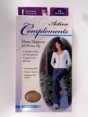 Activa Complements Size SM Sheer Open Toe Knee High 20-30 mmHg Beige