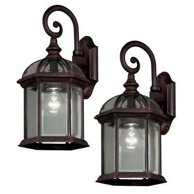 Hampton Bay Twin Pack 1-Light Weathered Bronze Outdoor Lantern