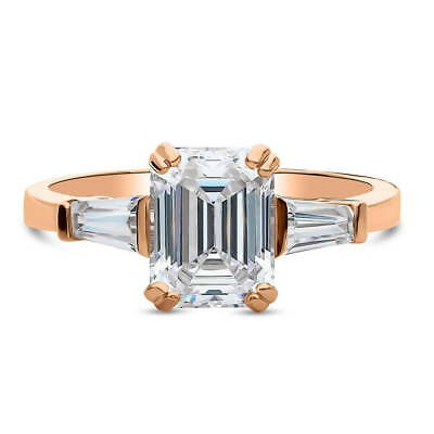 Rose Gold Over Silver Emerald Cubic Zirconia CZ 3-Stone Engagement Ring 2.41 CT