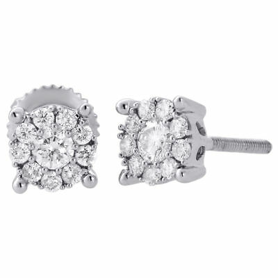 14K White Gold Solitaire Accent 5.75mm Round Diamond Flower Stud Earrings 1/3 Ct