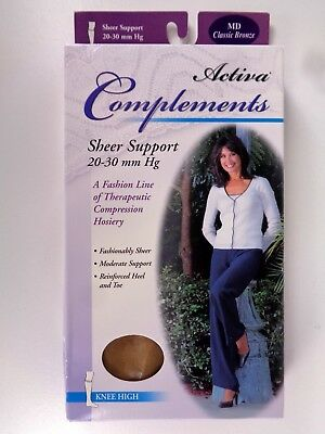 Activa Complements Size M Sheer Closed Toe Knee High 20-30 mmHg Bronze