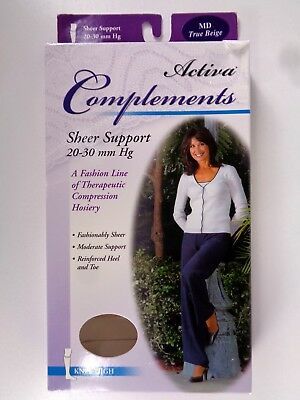 Activa Complements Size M Sheer Closed Toe Knee High 20-30 mmHg Beige