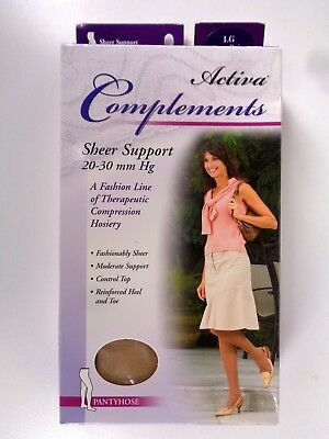 Activa Complements Size Large Sheer Pantyhose 20-30 mmHg Beige