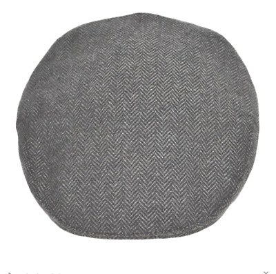 SALE Men's Hat Flat Cap Herringbone by G&H Hats Grey and Dark Grey S to XL