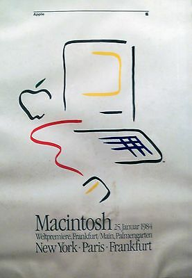 """Announcement Rare 1984 First Apple """"Picasso Style"""" Macintosh Computer Logo"""