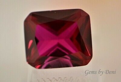 AAA Rated Octagon Faceted Bright Red Lab Created Ruby (5x3-18x13mm)