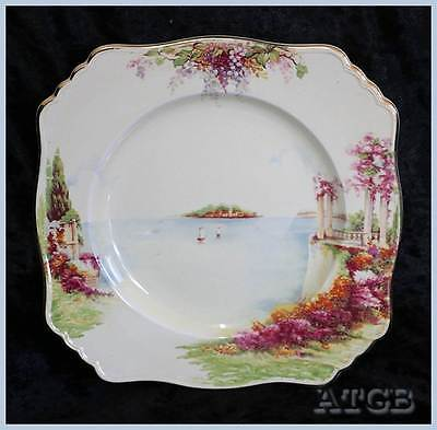 Vintage Royal Winton lake island scene cake plate 22cm across