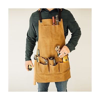 Heavy Duty Utility Work Shop Waxed Canvas Bib Apron with Tool and Chest Pocke...