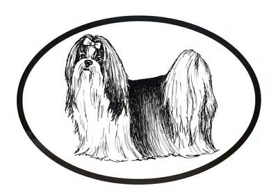 Dog Breed Oval Vinyl Car Decal Black & White Sticker  - Shih Tzu