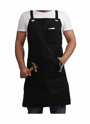 Black Waxed Canvas Apron, Heavy Duty Waxed Work Tool Apron Utility Apron with...