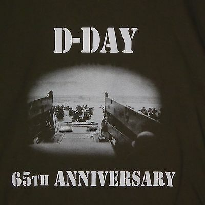 D DAY 65TH ANNIVERSARY Army Green T SHIRT Normandy LARGE