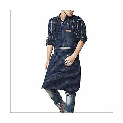 Luchuan Jeans Work Apron with Tool Pockets (Blue), Cross-Back Straps Real Lea...