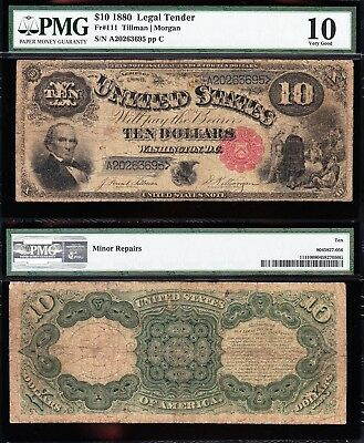 "Nice Circ 1880 $10 ""JACKASS"" US Legal Tender Note! PMG 10! FREE SHIP! A20263695"