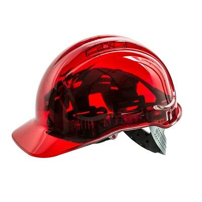 Portwest Peak View Hard Hat Safety Helmet Vented Lightweight Workwear Red PV50