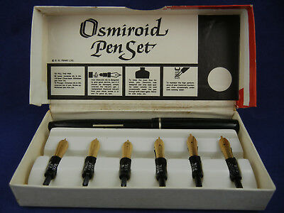 Vintage Osmiroid Calligraphy Lettering Pen and 6 Nibs & Fountain Pen