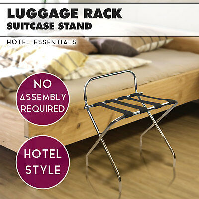 Chrome Folding Luggage Rack Stand - Hotel Suitcase Rack Bag Suitcase Stand