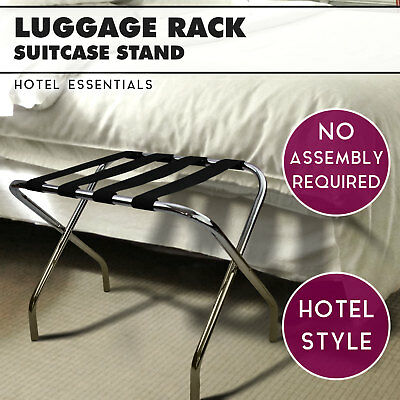 Chrome Folding Luggage Rack for Hotels Suitcase Rack Bag Storage Suitcase Stand