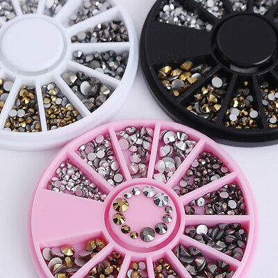 3D Nail Art Rhinestones Decoration in Wheel Manicure DIY Flat Bottom Mixed Sizes