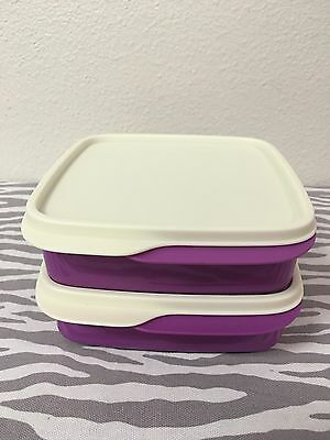 Tupperware Packette Divided Lunch Snack Containers Set Of 2 Purple 2 Cups New