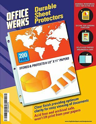 Sheet Protectors Heavy Duty 200 PACK BEST Clear Reinforced Holes 8.5 x 11 Inches