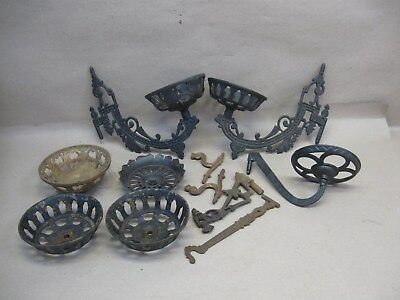 Antique Vtg Lot Cast Iron Oil Lamp Wall Swing Holders & Parts No Mount Brackets