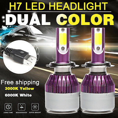 Dual Color H7 LED Headlight Bulbs Kit High or Low 6000K/3000K for Hyundai Sonata