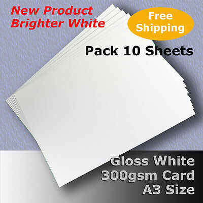 20 Sheets Gloss White Cast Coat Card 1/sided A3 Size 300gsm #H7268