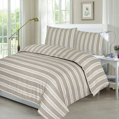 Duvet Cover Natural Stripe With Pillow Case Bedding Set Single, Double, King