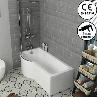 Modern Left & Right Hand B-Shaped Shower Bath with Screen, Front and End Panel