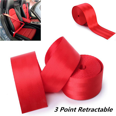 Red Racing Front 3 Point Safety Retractable Van Car Seat Lap Belt Universal 3.6M