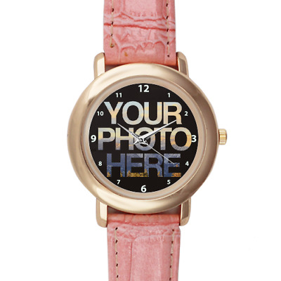 Womens Personalised Pink Leather Photo Watch Printed Design Custom Picture Image