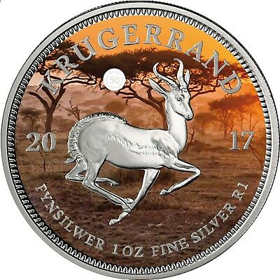 1 Rand South Africa 2017 Krugerrand - 1oz Silver Coin - PANGÄA Series coloured