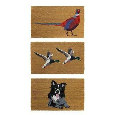 JVL Animal Themed Coloured Latex Back Coir Mat 45x75cm Pheasant, Ducks & Dog