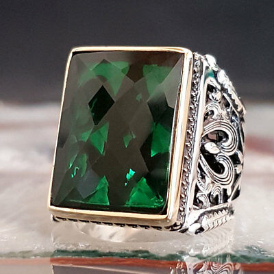 Sterling 925 Silver Mens Jewelry Elegant Emerald Gemstone  Men's Ring