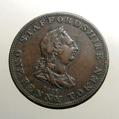 1811 COPPER PENNY___Large Trade Token___BUST OF KING GEORGE___Staffordshire