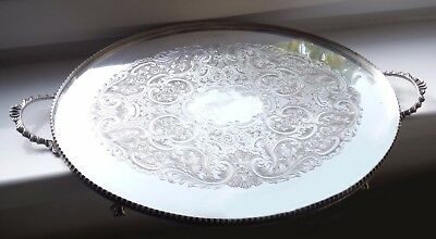 Large Oval English Silver Plated Tray-Claw & Ball Feet