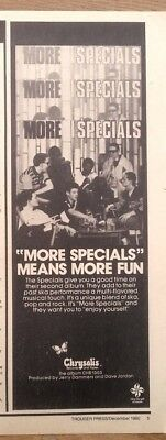 SPECIALS 'More Specials' 1980 magazine ADVERT/Poster/Clipping 11x4 inches