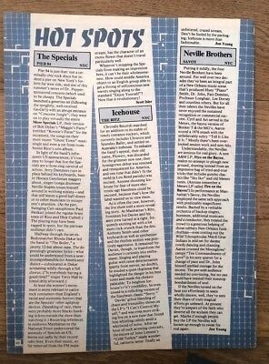 SPECIALS 'Pier 84 New York concert review' 1981 ARTICLE / clipping