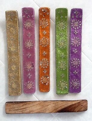 Gold Karma Wooden Incense Holder with Glitter and Mirror Tiles