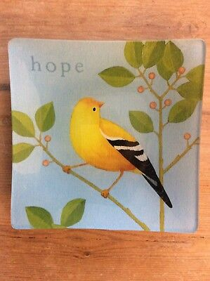 """Grasslands Roads Yellow Finch Accent Plate w Stand w Message of """"hope"""""""