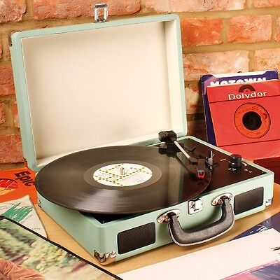 Vinyl Record 3 Speed Turntable Music Player in Green Leatherette Suitcase