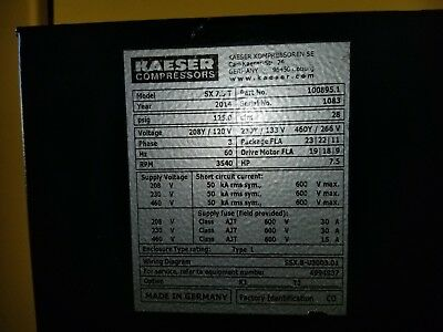 Kaeser SX7.5T Rotary Screw Compressor with Dryer 2014