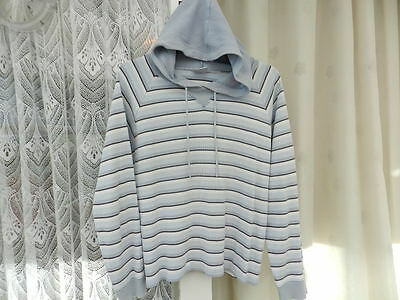 Ladies/Womans/Girls Light Blue White Grey Striped Hooded/Hoodie Top Size 14 NEXT