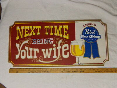 """1970's Pabst Beer Wood Sign, Color Graphics, 11x24"""", Unused, NM Condition"""