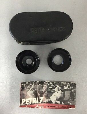 Petri Aux Lens Set with Case Telephoto And Wide Angle Lenses C2