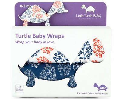 Little Turtle Baby Stretch Cotton Jersey Wrap 2-Pack - Red/Navy