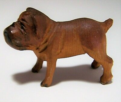 Vintage Carved Wood English Bulldog Hand Painted 2 Inch Dog Figurine 218g
